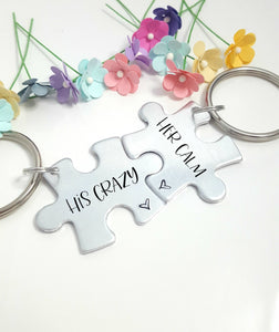 His Crazy Her Calm Puzzle Piece Keychain Set