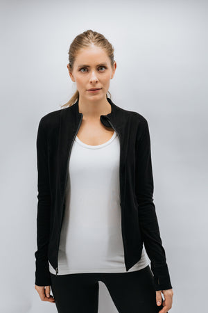 Zenkai Full Zip Mock Jacket Black