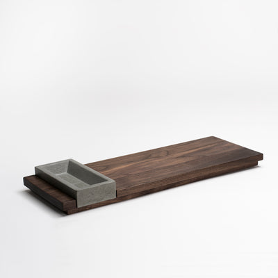 Front View of KOMOLAB Appetizer Tray (Walnut and Concrete Bowl)