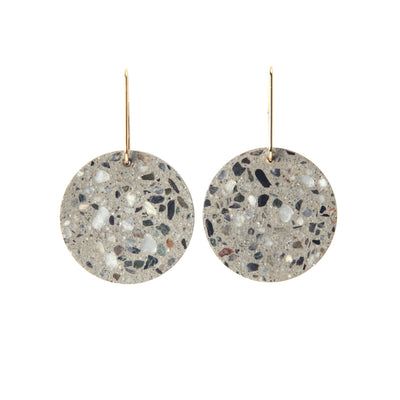22STUDIO Concrete Circle Earrings In Light Gray