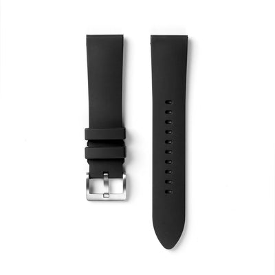 22STUDIO Fluoroelastomer 22mm Strap In Black With A Silver Buckle