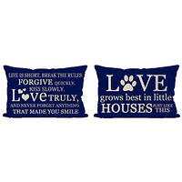 ITFRO Set of 4 Farmhouse Family Friends Blessings with Inspirational Life Love Words Lumbar Navy Burlap Throw Pillow Case Cushion Cover Sofa Decorative Rectangle 12x20 inch (Set of 4)