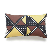 "Hofdeco African Mudcloth Lumbar Pillow Cover ONLY, Mustard Yellow X Stripes, 12""x20"""