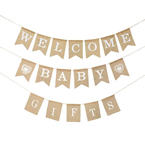 DaveandAthena 3 Pieces Welcome Baby Banner Gift Burlap Banner Baby Shower Banner Bunting Garland for Baby Shower Decorations