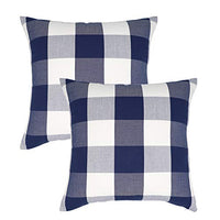 NAVIBULE Pack of 2 Farmhouse Buffalo Plaid Cream Pillow Covers Cotton Linen Rustic Check Home Decor Tan Throw Pillow Cushion Cases 18x18 in