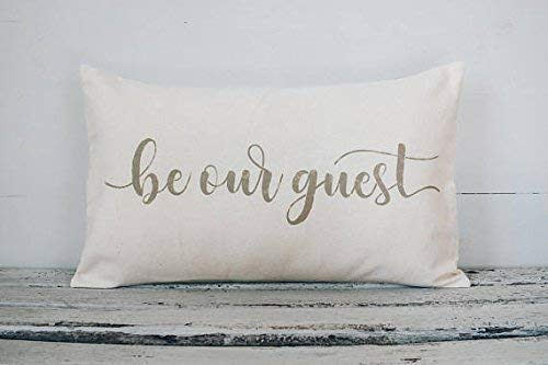 Athena Bacon Pillowcase Decor Cover Be Our Guest Lumbar, Farmhouse Style,12x20, Burlap, Fabric