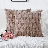 Madizz Pack of 2 Soft Plush Short Wool Velvet Decorative Throw Pillow Covers Luxury Style Cushion Case Pillow Shell for Sofa Bedroom Square Beige 20x20 inch