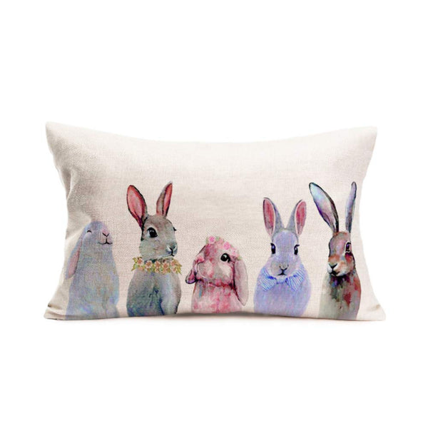 Asminifor Spring Easter Decorative Lumbar Throw Pillow Cover Happy Easter Cute Rabbits Bunnies Cotton Linen Rectangular Animals Pillowcase Cushion Cover for Bed Couch Sofa 12 x 20 Inch (SE-Rabbit)