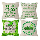 NIDITW Set of 4 Happy St Patricks Day Series Sister Gift Irish Blessing Shamrocks Clovers Burlap Throw Pillow Case Pillowcase Cushion Cover Sofa Couch Decorative Square 18x18 Inches (S1)