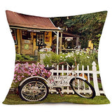 "Royalours Throw Pillow Covers Butterfly & Honeybee Decorative Pillow Covers Cotton Linen Vintage Flower Garden Farmhouse Pillowcase Cushion Covers Square 18"" x 18"" (Garden-Bee)"