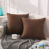 Elara Star Solid Decorative Throw Pillow Covers Soft Cotton-Linen Pillow Cases 18 x 18 Inch Accent Square Cushion Covers for Sofa Couch Bed Car,Pack of 2,Khaki