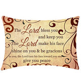 NIDITW Aunts with Scripture Words The Lord Bless You and Keep You Vintage Lumbar Burlap Pillow Case Cushion Cover for Chair Couch Decorative Rectangle 12x20 Inch