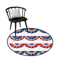 Flexible Round Rug American Flag USA Rustic for The Kitchen Burlap Looking and Ancient Retro Vintage Country Symbol Flag Picture Red Blue White D47(120cm)