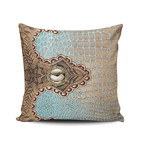 WEINIYA Home Decoration Throw Pillow Case Rust Aqua Mint 20X20 Inch Southwest Canyons Petroglyphs Square Custom Pillowcase Cushion Cover Double Sided Printed (Set of 1)