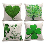 "Macheep Set of 4 Happy St Pattys Day Gift Irish Blessing Sassy Little Lassie Lucky Shamrock Four Leaf Clovers with Arrows Burlap Throw Pillow Cover Pillowcase Sofa Decorative Square 18""x18 inch"