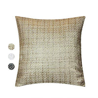 Contempo Lifestyles Tweed Decorative Pillow Cover – Throw Pillow Cover with Gold Metallic Finish – Cottage Home Décor Pillow Case – 18 x 18 Inch Farmhouse Rustic Cushion Cover, Mocha/Gold 2PCS