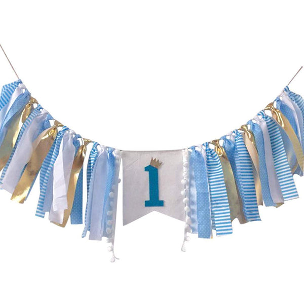 1st Birthday Party Supplies Decorations, Baby Boy First Birthday Banner, Burlap Highchair Banner