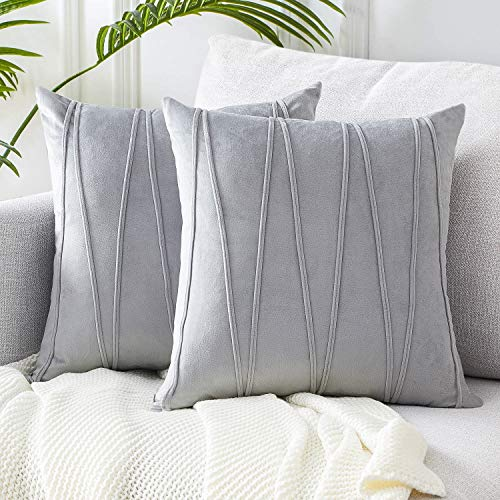 Top Finel Decorative Hand-Made Throw Pillow Cases Soft Particles Velvet Solid Cushion Covers 20 X 20 for Couch Bedroom Car, Pack of 2, Cream