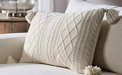 Lumbar Throw Pillow Cover Decorative Sweater Knit 100% Cotton Cushion Case with Tassels for Couch, Chair, Bed and Home Accent Decor Beige (16 x 24 Inch / 40 x 60 cm)