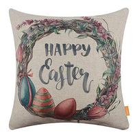 LINKWELL Purple Flower Wreath Bunny Easter Pillow Cover 18x18 inch Decorative Cushion Case for Sofa Bedroom Car Couch CC1702