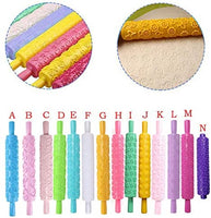 Rolling Pin,Elevin(TM) 14 Pattern Rolling Pin Embossing Baking Pastry Cake Roller Decorating Mold Tool (F)