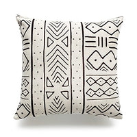 Hofdeco Store Decorative Throw and Lumbar Pillow Case African MUD Cloth Print Bogolan Pattern Heavy Weight Fabric Cushion Cover 18x18 20x12 Inches (Natural Dots and Line)