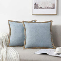 NordECO HOME Set of 2 Throw Pillow Covers - Burlap Linen Trimmed Tailored Edges Decorative Cushion Covers for Bed Home Decoration, 18 x 18, Light Blue