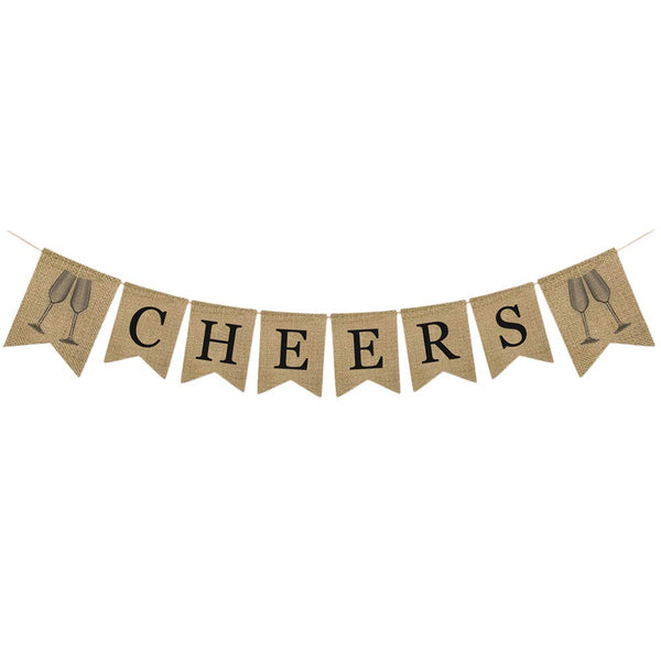 Amosfun Burlap Banner Cheers Bunting Banner Pull Flag for Graduation Baby Shower Birthday Bachelorette Bridal Shower Wedding Engagement Party Decorations