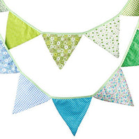 G2PLUS 3.3 Meters / 10.8 Feet Triangle Pennant Flags Vintage Bunting Floral Cotton Banner Kit Pennant Garland for Wedding,Festivals,Nursery,Outdoor Pennant Hanging Decoration (Blue Green)