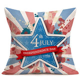 Asminifor Throw Pillow Covers Patriotic American Flag July 4th Decorative Pillow Covers Stars & Stripes Vintage USA Flag Cotton Linen Burlap Pillow Cases Cushion Covers Square 18 x 18 Inch (VL08)