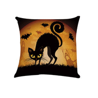 CHICHIC Set of 4 Happy Halloween Pillow Covers Halloween Decorations Bat Pumpkin Cotton Linen Cushion Cover Sofa Couch Burlap Decorative Throw Pillow Cases Pillowslip Home Decor, 18 x 18 inch