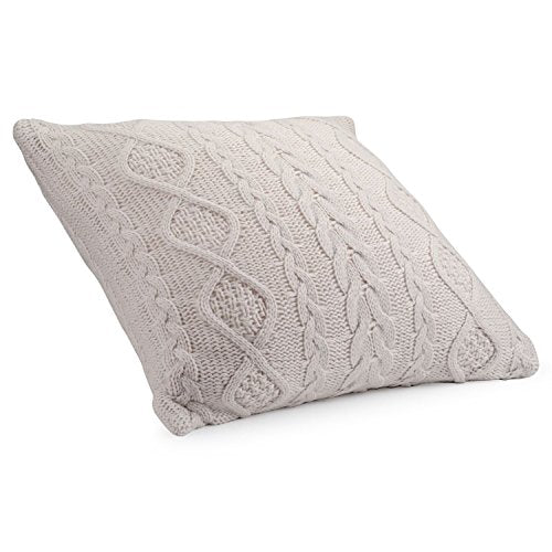 Cable Knit Lumbar Throw Pillow Cover Decorative Rectangular Cushion Case for Couch, Chair, Bed and Home Accent Decor, 16 x 24 Inch / 40 x 60 cm Beige