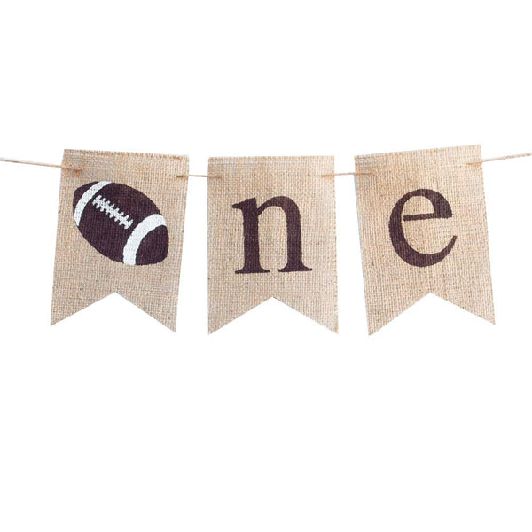 Amosfun One First 1st Birthday Burlap Pennant Banner Rugby Football Soccer Theme First Birthday Decorations Photo Booth Props Supplies for Baby Girls Boys