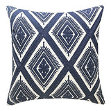 SLOW COW Cotton Embroidery Decorative Throw Pillow Cover for Bedroom Couch Sofa Geometric Pattern Pillowcase Accent Pillow Cover Cushion Cover 18 x 18 Inches Gray
