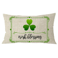NIDITW Happy St Patrick Day Gift Irish Blessing Shamrock Four Leaf Clover with Floral Pattern Cream Lumbar Burlap Throw Pillow Cover Pillow Sham Sofa Decorative Rectangle 12x20 Inches