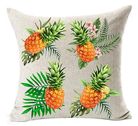 Andreannie Ink Painting Fresh Color Fruit Pineapples Cotton Linen Throw Waist Lumbar Pillow Case Cushion Cover Home Office Decorative Rectangle 12 X 20 Inches