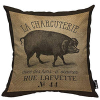 Mugod Pig Throw Pillow La Charcuterie French Pig Burlap Vintage Black and Brown Cotton Linen Square Cushion Cover Standard Pillowcase 18x18 Inch for Home Decorative Bedroom/Living Room/Car