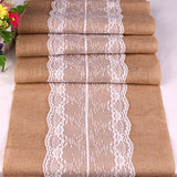 Lelly Q Rustic Burlap Lace Hessian Table Runner Jute Country Outdoor Wedding Party Décor Thanksgiving Christmas Decor (C)