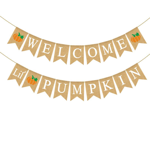 Rainlemon Jute Burlap Welcome Little Pumpkin Banner Fall Autumn Baby Shower Diaper Party Birthday Party Garland Decoration