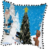 Hohaski Christmas Sofa Pillow Case Cushion Cover Decorative Covers with Pom Pom Trim, Christmas Ornaments Advent Calendar Pillow Covers Garland Tree Skirt Gift Bags DIY