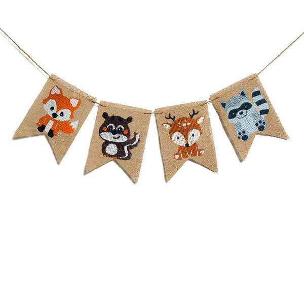 Animals Burlap Banner Woodland Baby Shower Decoration ,Fox Squirrel Deer Raccoon Kids Birthday Party Decoration