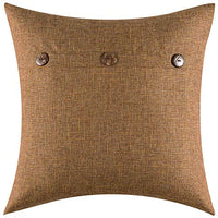 MIULEE Set of 2 Decorative Linen Throw Pillow Covers Cushion Case Triple Button Vintage Farmhouse Pillowcase for Couch Sofa Bed 18 x 18 Inch 45 x 45 cm Brown