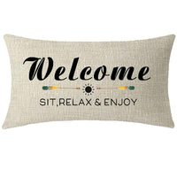NIDITW Nice Gift with Funny Words Welcome Sit Relax and Enjoy Lumbar Cream Burlap Throw Pillow Case Cushion Cover Sofa Decorative Rectangle 12x20 Inches