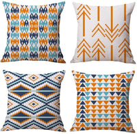 Xisheep Easter Day Home Décor , Sofa Pillows 4pcs Modern Simple Geometric Style Cotton Linen Burlap Square Throw Pillow Cover Pillow Case - Multicolor