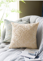 DOKOT Embroidery Throw Pillow Case Covers Square Cushion Cover 100% Cotton with Zipper for Home Decorative 20x20 inches(50x50cm) (Beige, 2 Pieces)