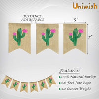 Uniwish Cactus Burlap Banner Garland Summer Hawaiian Green Theme Baby Shower Birthday Party Decorations Mexican Fiesta Festival Décor