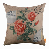 "LINKWELL 18""x18"" Vintage Pink Rose Love Burlap Pillow Cover Cushion Cover CC1472"