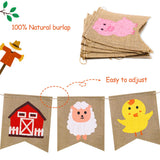 Faisichocalato Farm Animal Burlap Banner High Chair Garland Farmhouse Hanging Pennant Birthday Party Pre-Strung Bunting Baby Shower Decorations