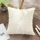 OJIA Decorative Throw Pillow Covers Boho Neutral Farmhouse Decor, Tufted Rumi Shag Pillows Cases Accent Cushion Covers for Bed Sofa Living Room Bedroom (18 x 18 inch, Cream)