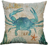 Makaor_Home Blue/Red Bicycle Flower Vintage Spring Home Decorative Throw Pillow Case Cushion Cover Cotton Linen Home Decor for Couch Sofa Bed Chair 18 X 18 Inch